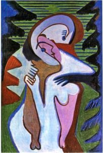 1930 Ernst Ludwig Kirchner (German Expressionist, 1880-1938) Lovers (The Kiss)